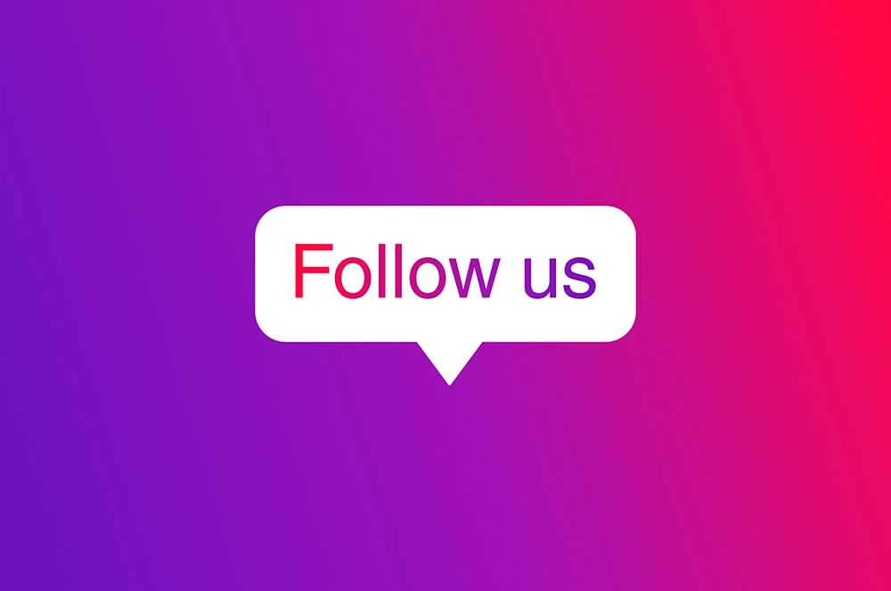 """Balão de notificação com os dizeres """"Follow us"""""""